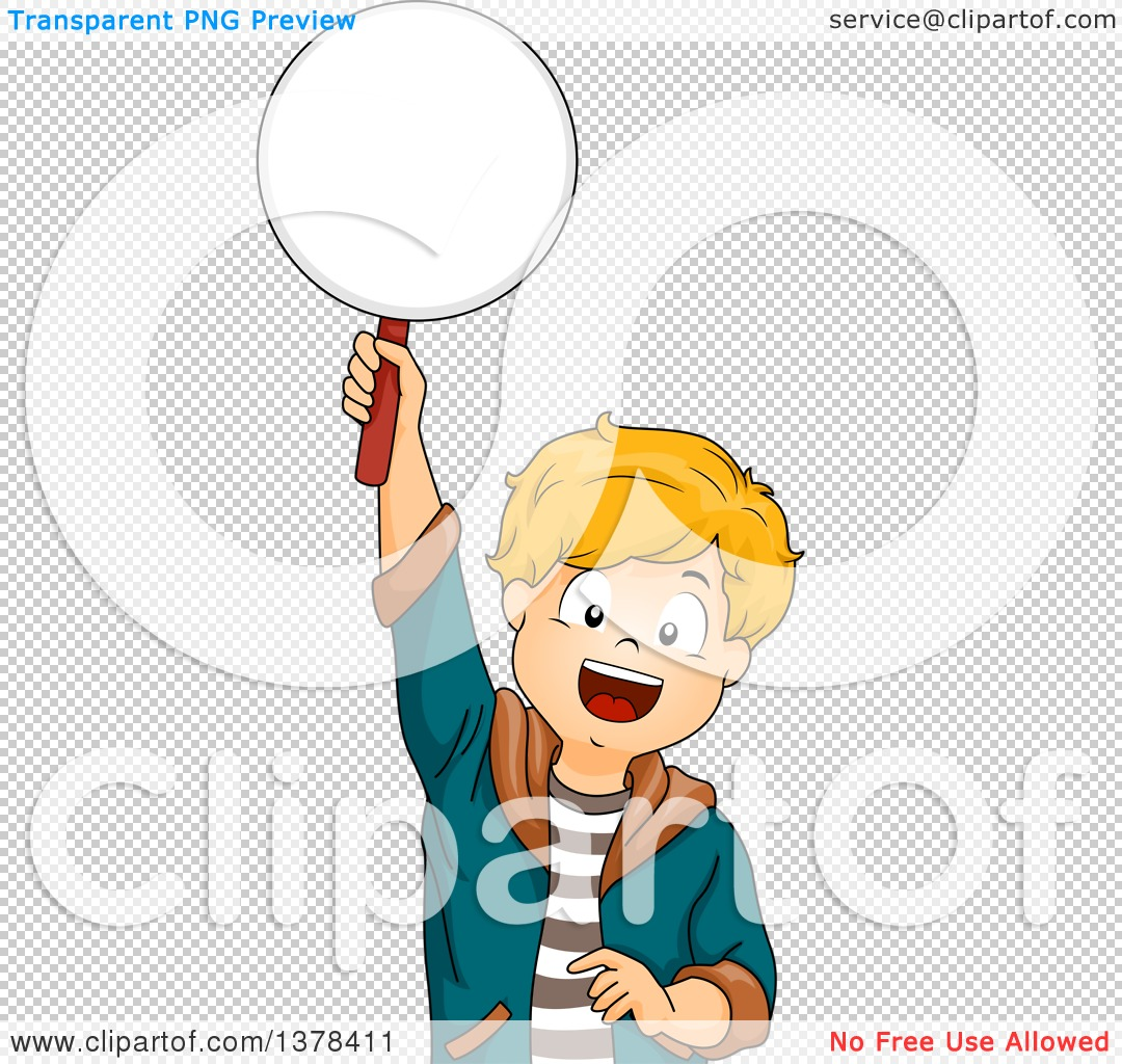 Clipart Of A Happy White Boy Holding Up A Paddle To Answer A Question
