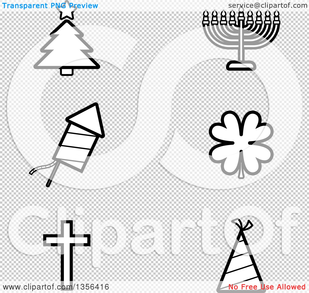 Clipart Of Black And White Lineart Christmas Hanukkah