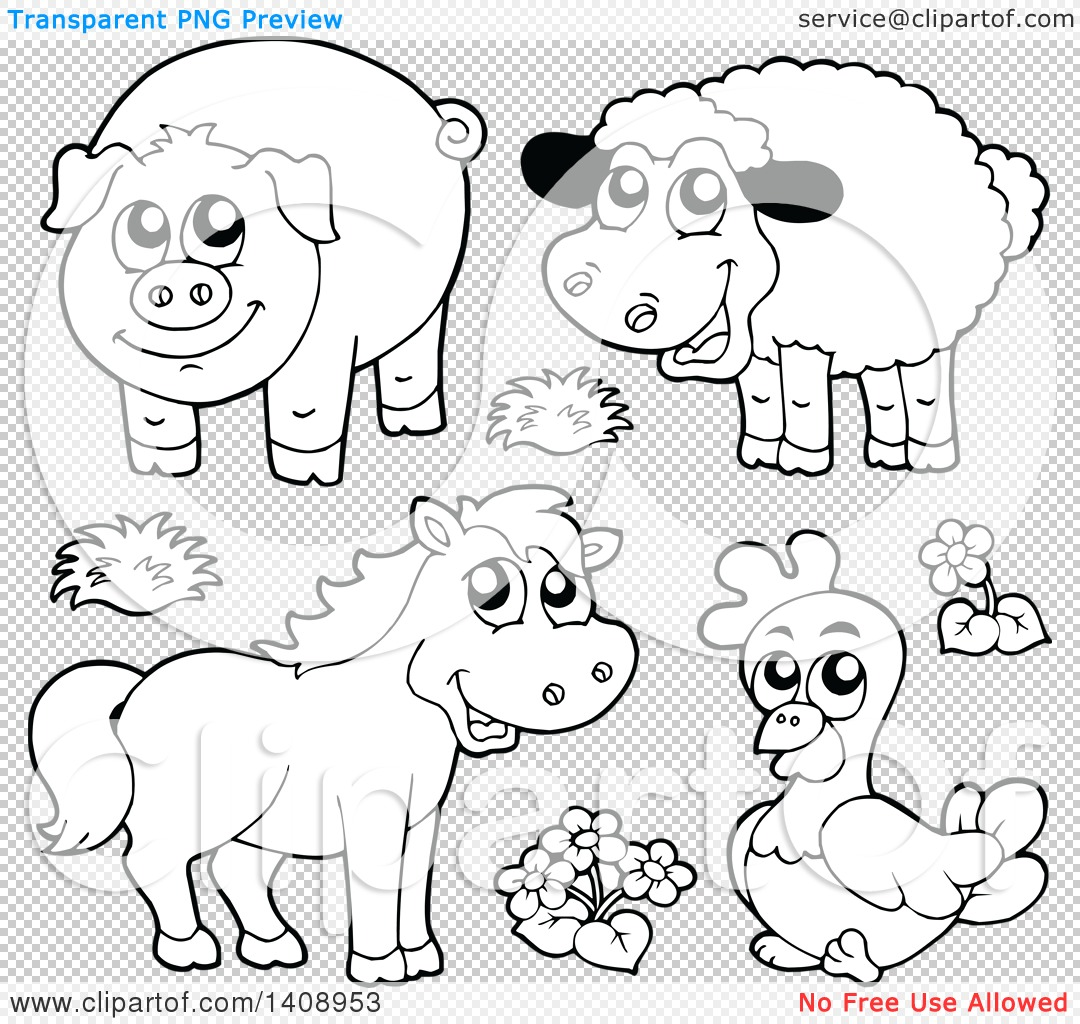 Clipart Of Black And White Lineart Farm Animals