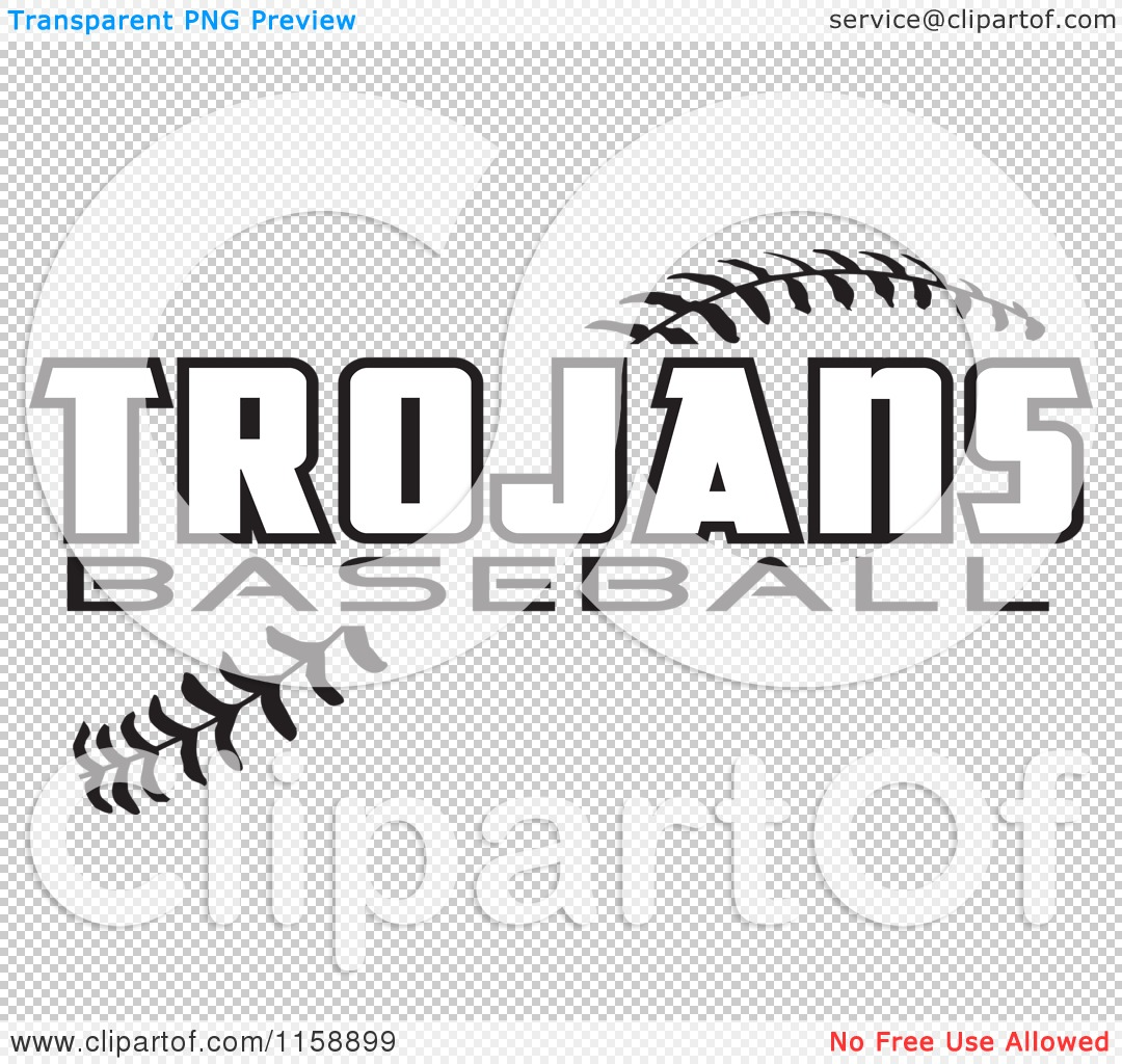Clipart Of Black And White Trojans Baseball Text Over