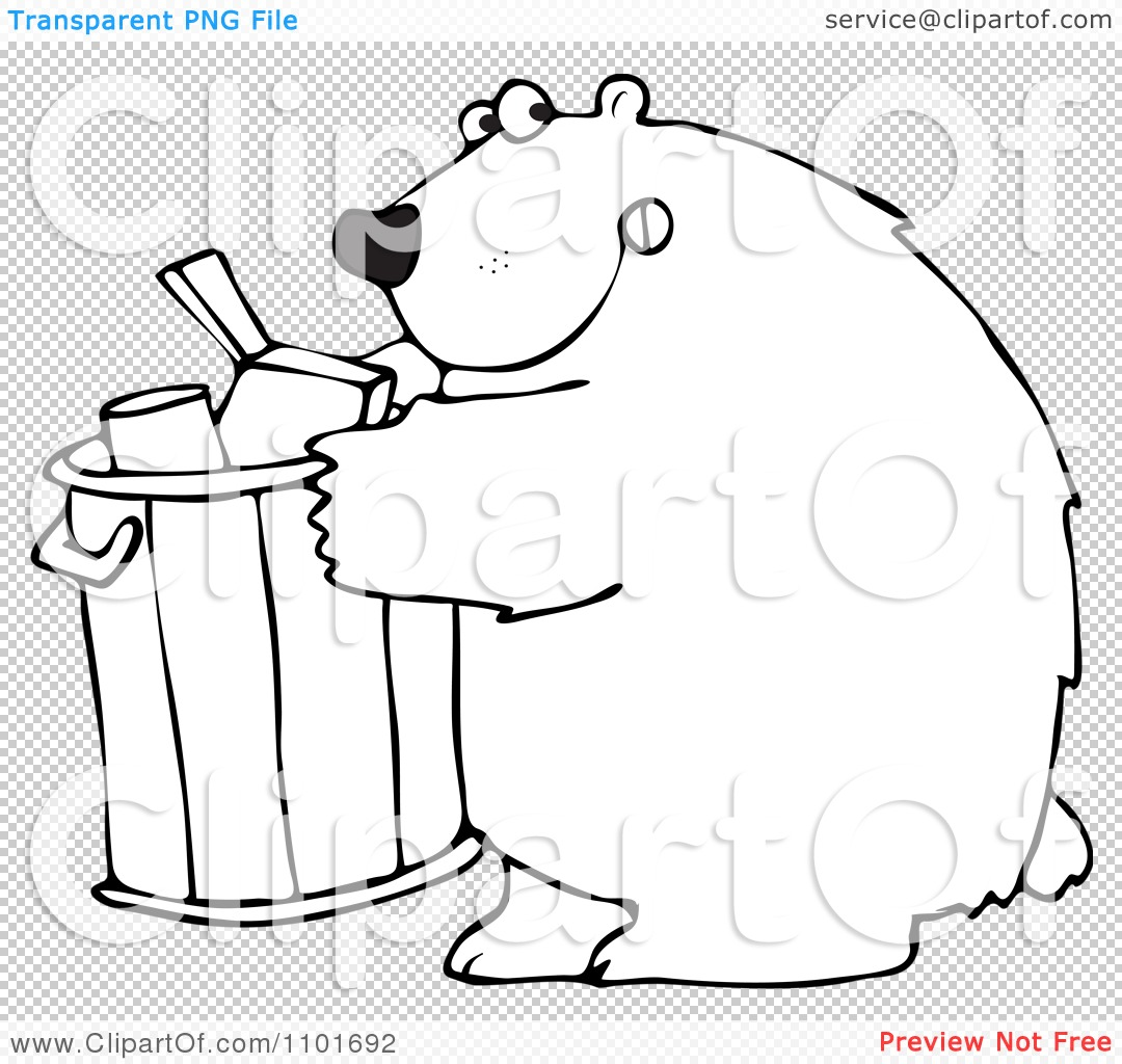 Clipart Outlined Bear Getting Into A Garbage Can