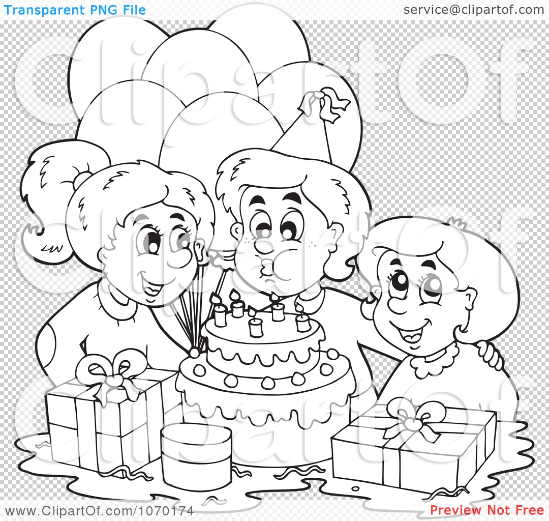 Clipart Outlined Birthday Boy Blowing Out His Candles