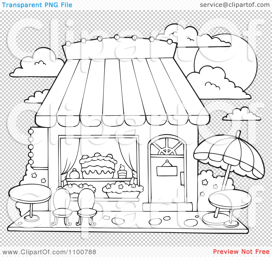 Clipart Outlined Cake Or Candy Shop With Outdoor Seating