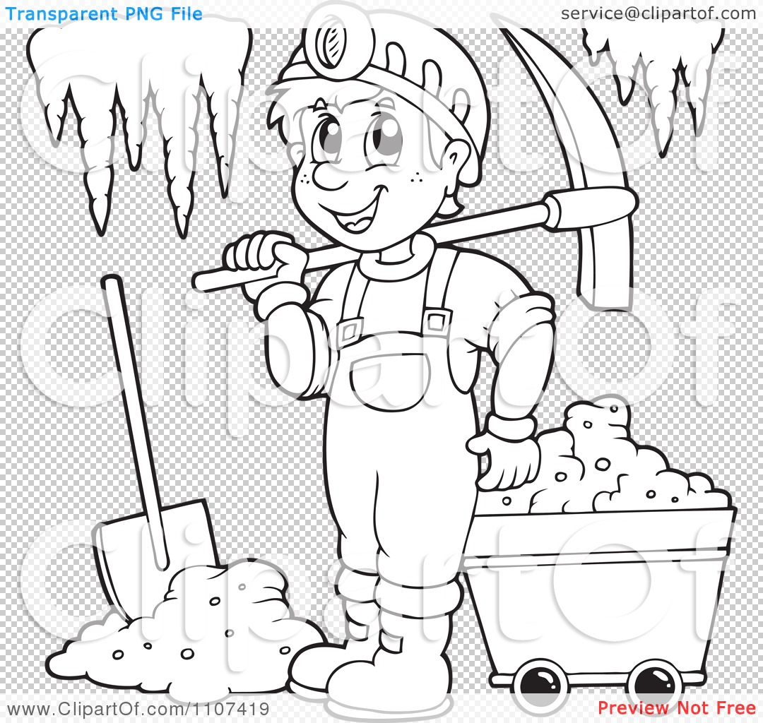 Clipart Outlined Happy Miner In A Cave