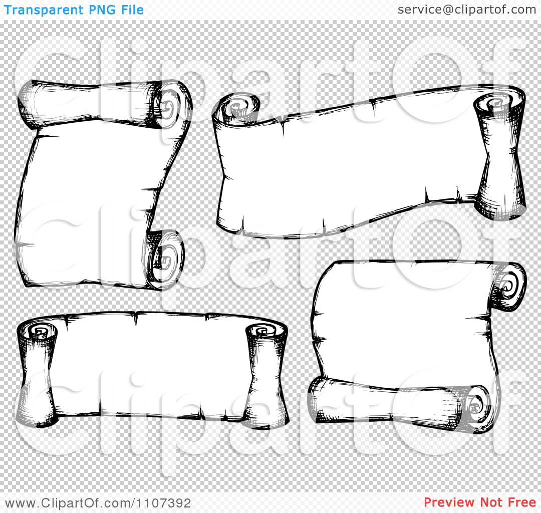 Clipart Sketched Balck And White Parchment Scrolls 2