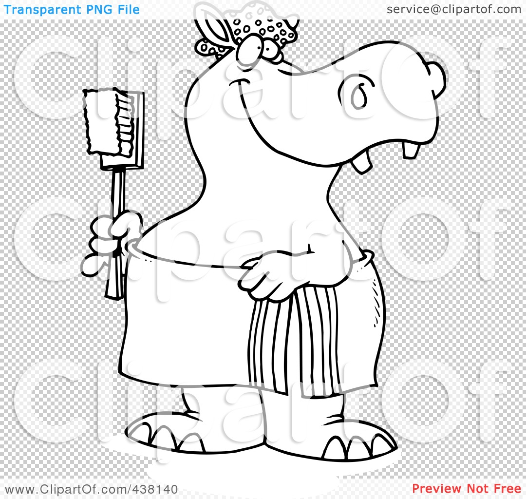 Royalty Free Rf Clip Art Illustration Of A Cartoon Black And White Outline Design Of A Bath