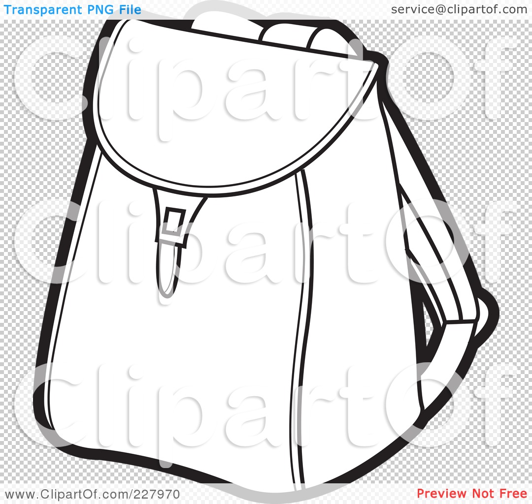 Royalty Free Rf Clipart Illustration Of A Coloring Page Outline Of A School Bag By Lal Perera