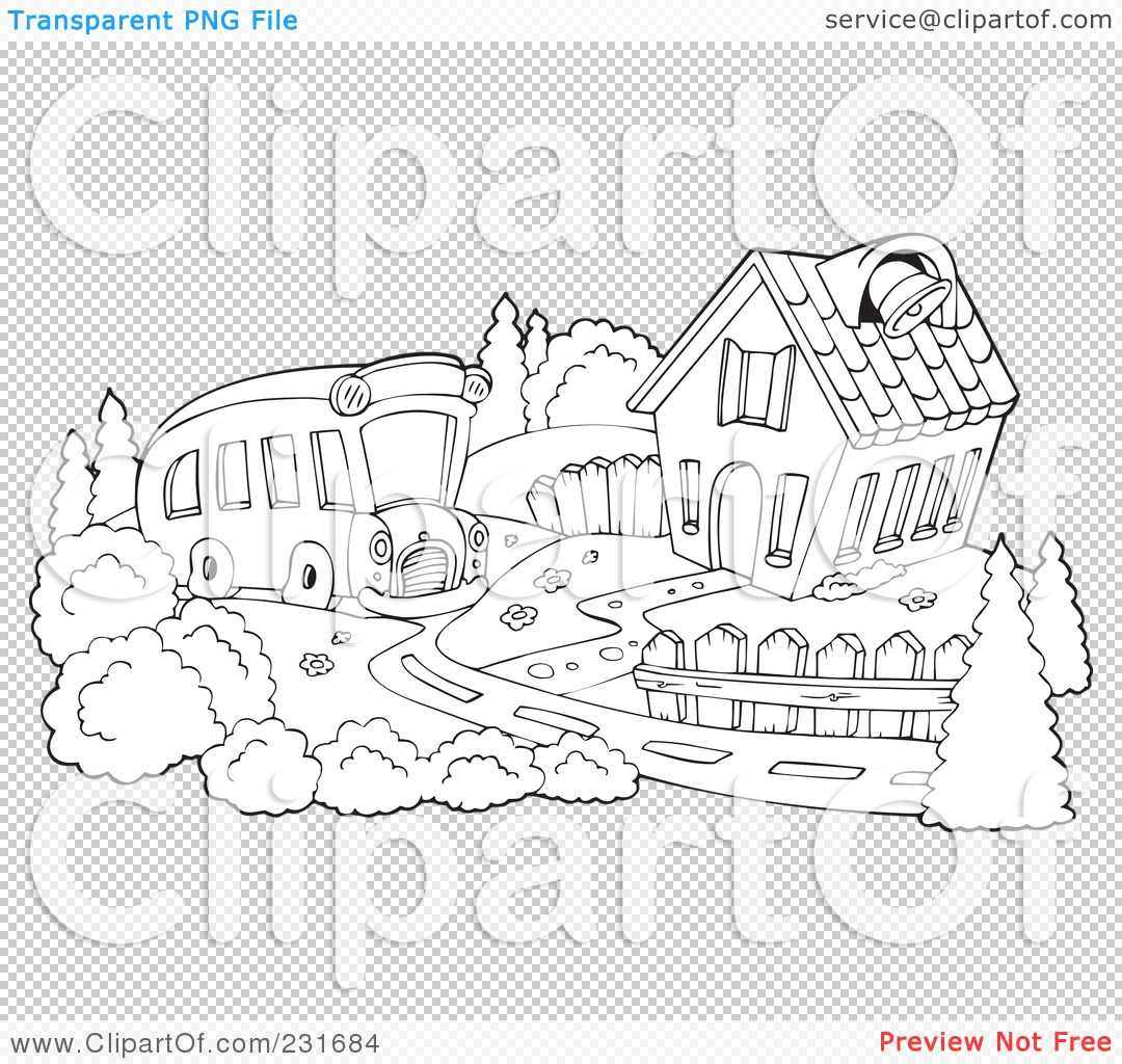 Royalty Free Rf Clipart Illustration Of A Coloring Page Outline Of A School Bus Pulling Up To