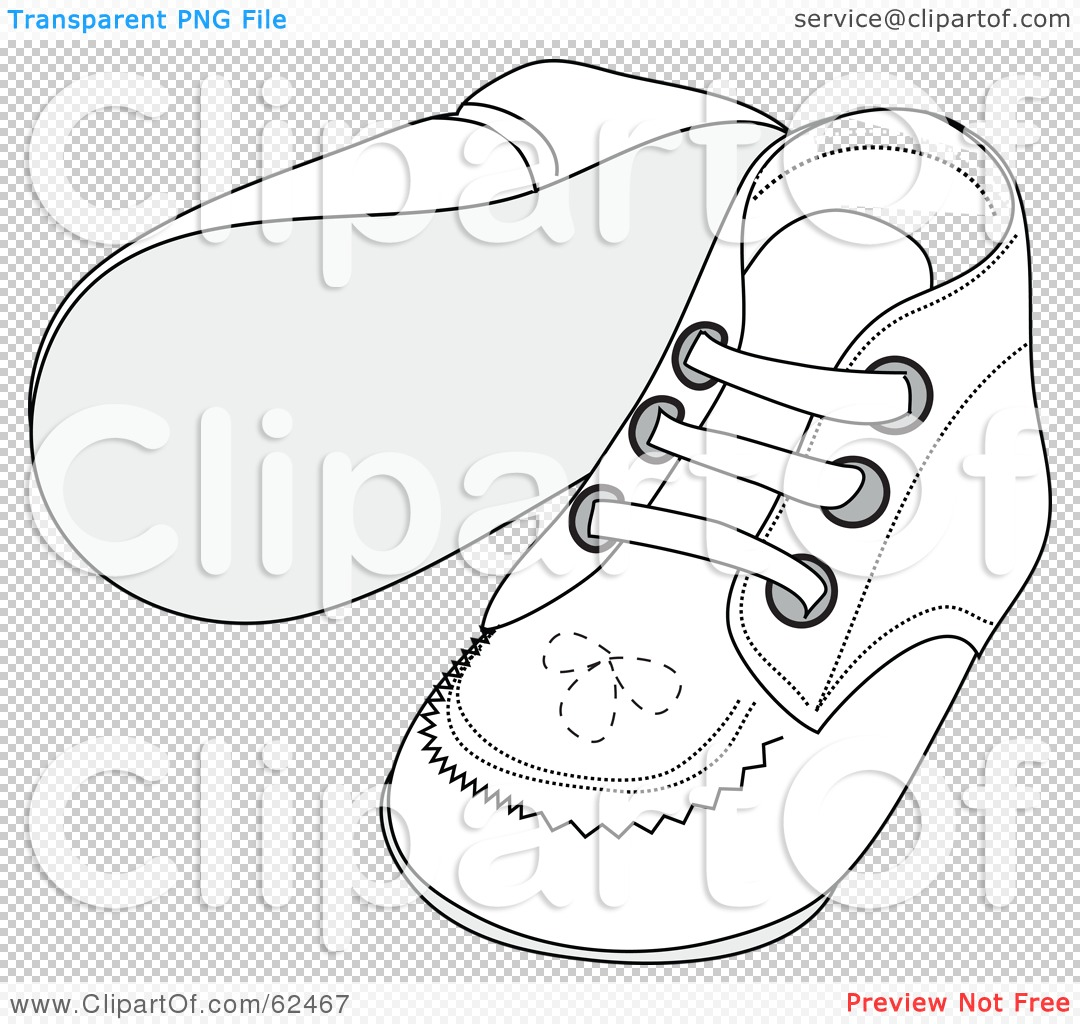 Royalty Free Rf Clipart Illustration Of A Pair Of White Baby Shoes With Stitching Patterns By