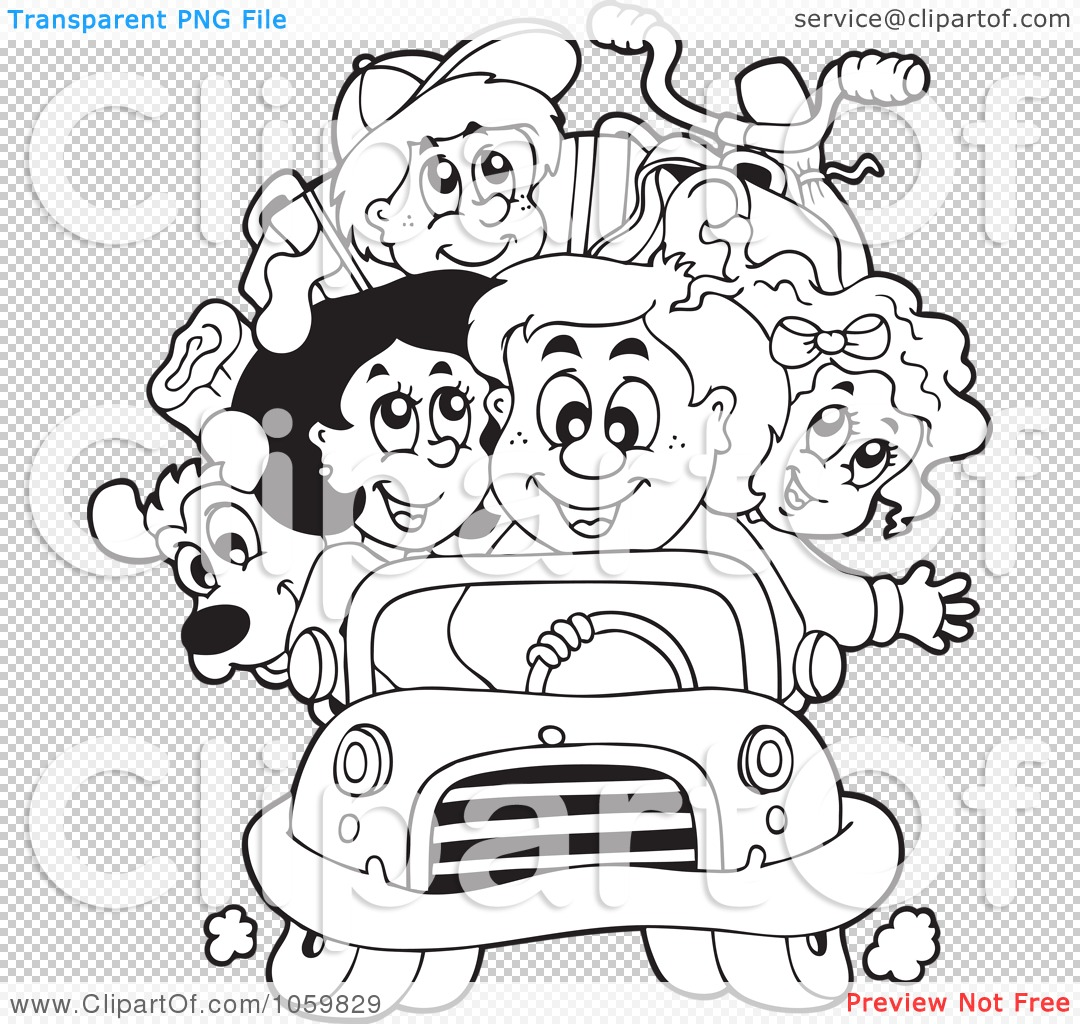 Royalty Free Vector Clip Art Illustration Of A Coloring Page Outline Of A Family On A Road Trip