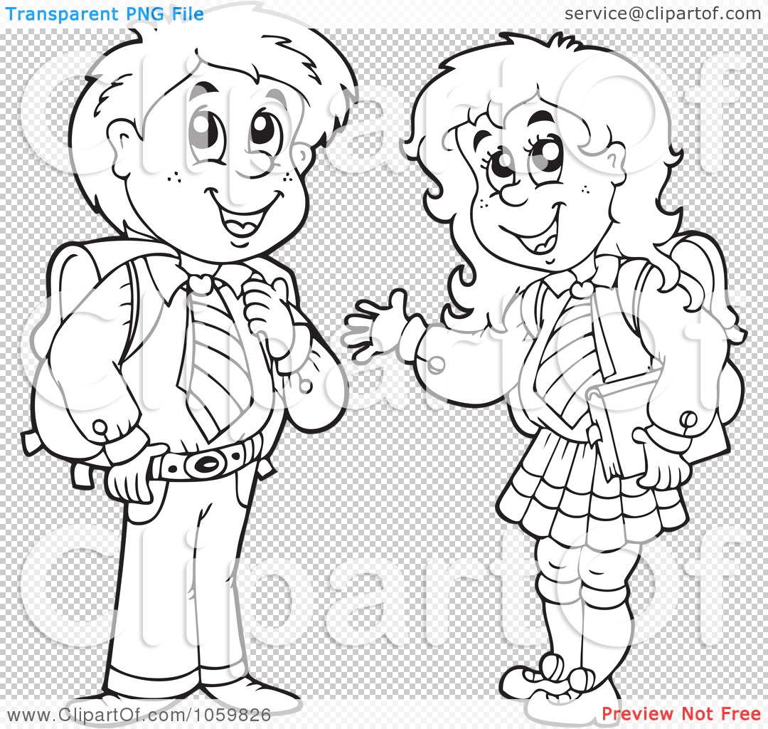 Royalty Free Vector Clip Art Illustration Of A Coloring Page Outline Of School Kids By Visekart