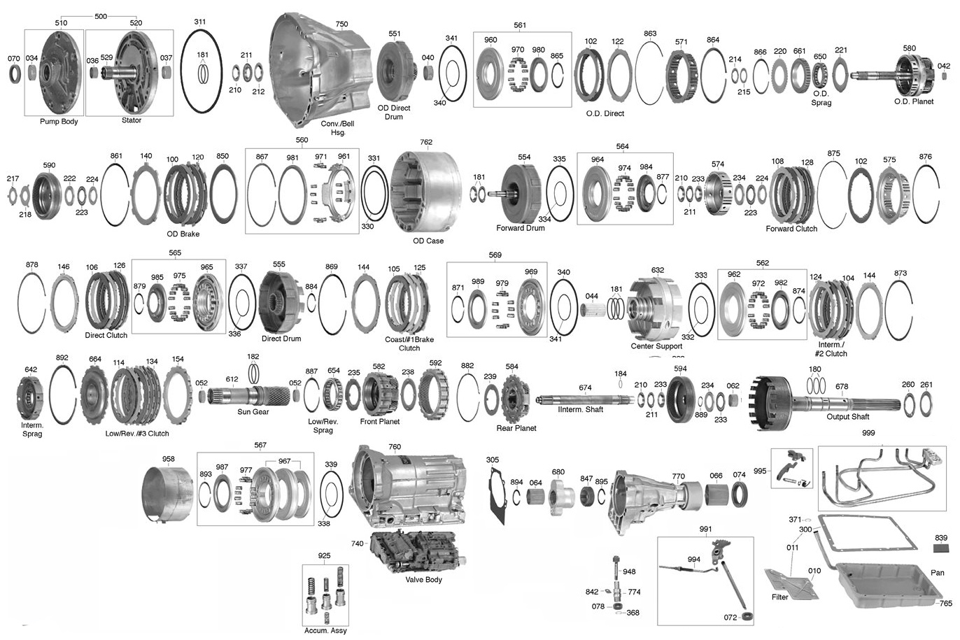 A40 Transmission Parts Diagram Trans Parts Online