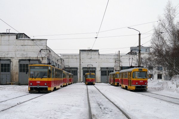 Фото: Барнаул, Tatra T6B5SU № 3183; Барнаул, Tatra T3SU ...