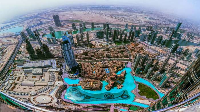 Dubai, United Arab Emirates from top.