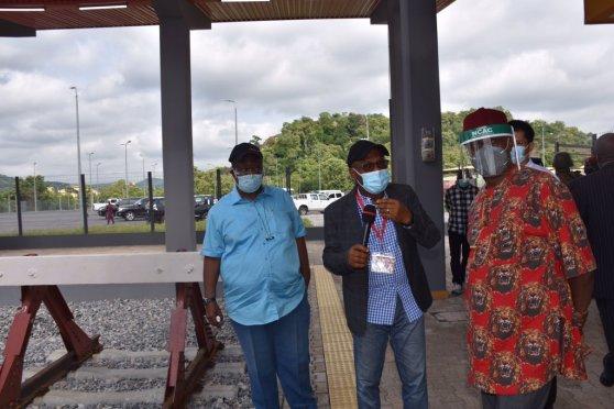 The Hon. Minister of Transportation, Chibuike.R. Amaechi at the Railway station.