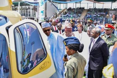 NAF first female pilot, Tolulope Arotile, with President Buhari.