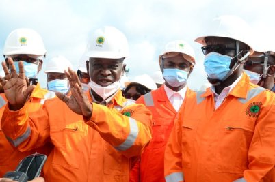 The Group Managing Director of the Nigeria National Petroleum Corporation, Mele Kyari, at the facility tour in Benin.