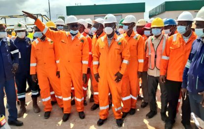 The NNPC Group Managing Director, Mele Kyari, at the facility tour in Benin.