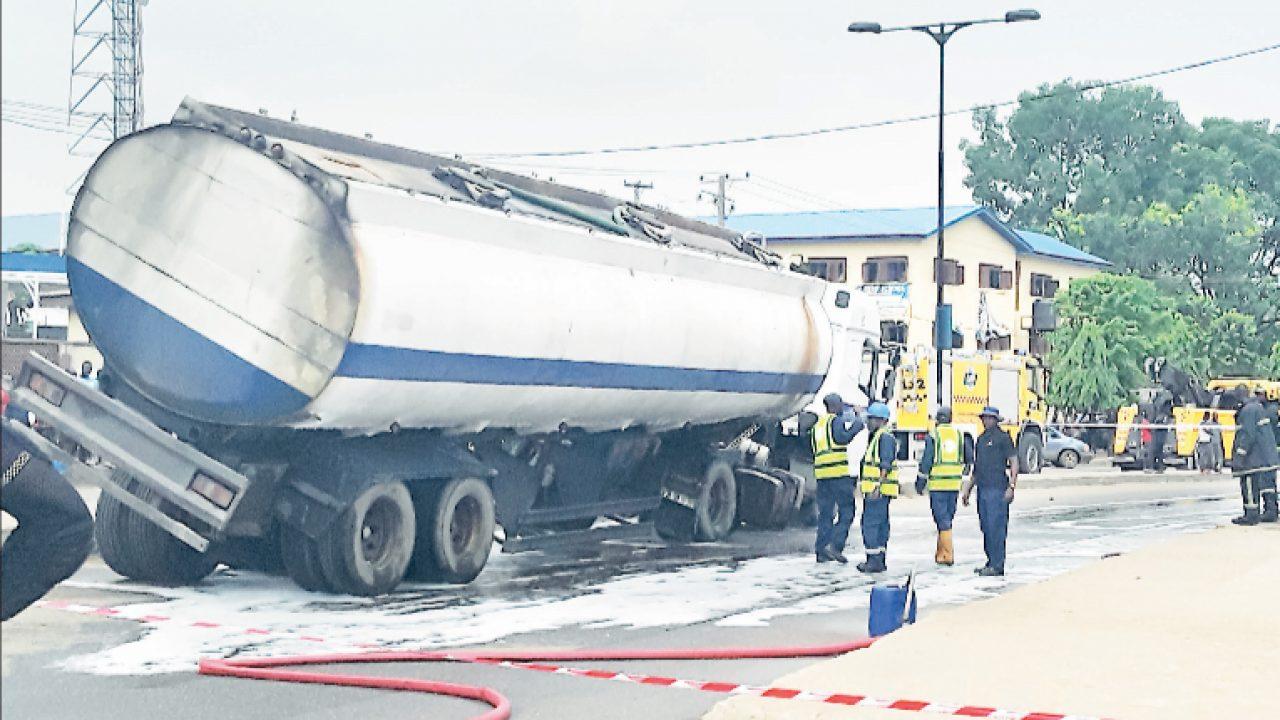 Diesel tanker with suspected brake failure, crash in Apapa