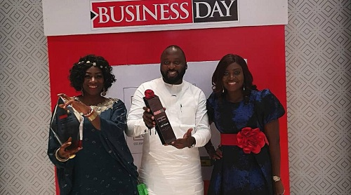 L-R: Florence Opia, Cabin Services Manager; Ayodeji Adeyemi, Ground Operations Manager; Joy Imeli, Head of Monitoring and Compliance, all of Air Peace, at the 2020 Nigerian Business Leadership Awards held recently in Lagos.