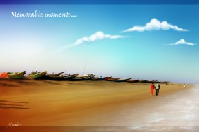 By the sea side_Gopalpur beach, digital painting made in Photoshop.