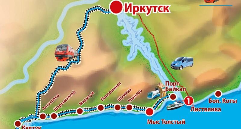 Karte der Alten Baikalbahn