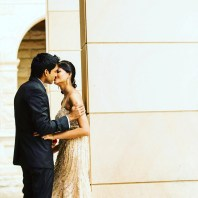 Sydney indian wedding couple kissing at curzon hall