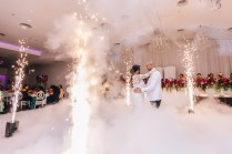beautiful bride and groom wedding fireworks dry ice first dance photography