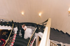 beautiful wedding bride and groom kissing at epping club reception