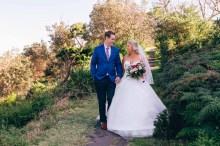Australian bride and groom walking in wollongong