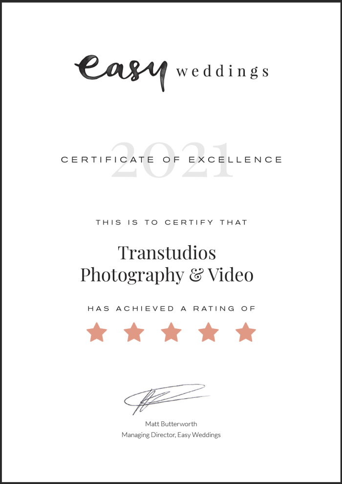 Easyweddings Certificate of Excellence 2021 TranStudios Photography & Video