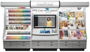 The PPG Color Work Station, a new retail palette display with an integrated 42-inch touch screen, serves as a comprehensive color station to simplify color selection and coordination.