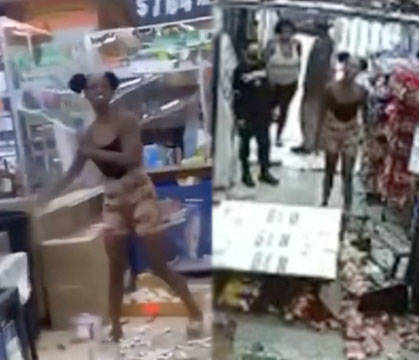 WATCH THIS: Was Is That Serious? Chick Destroys An Asian Owned Liquor Store Over A Cell Phone Dispute!