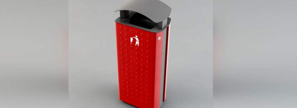 Red Trash Can Curver