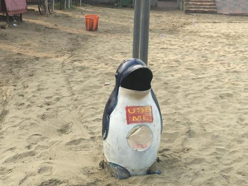 penguin trash cans