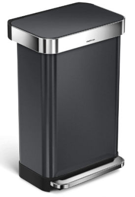 simplehuman black stainless steel trash can