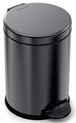 black stainless kitchen trash can