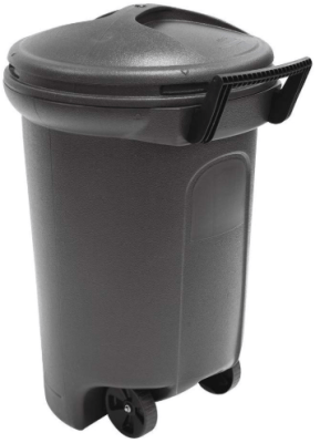 32 gallon trash can with wheels and attached lid