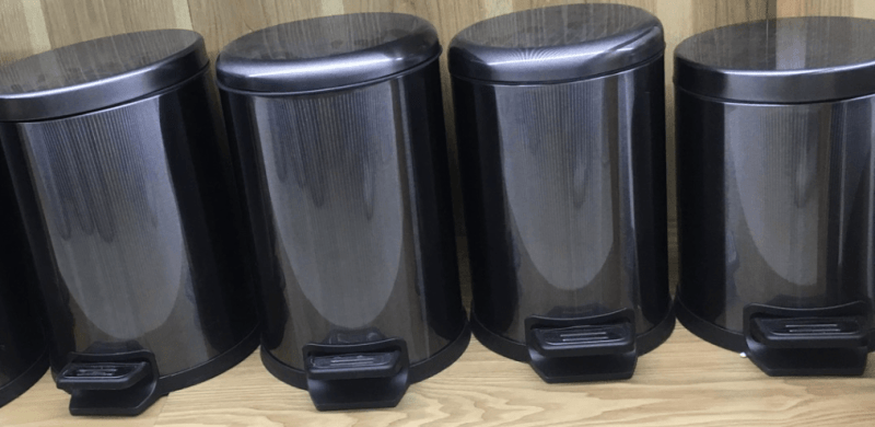 black stainless steel garbage can