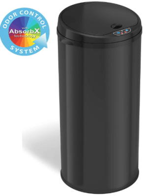 black stainless kitchen garbage can