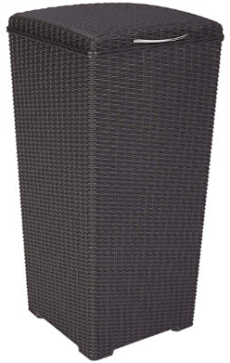 outdoor wicker garbage can
