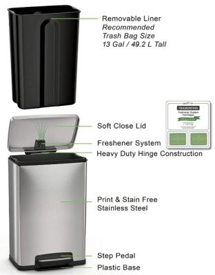 Tramontina 13 Gallon Step Trash Can