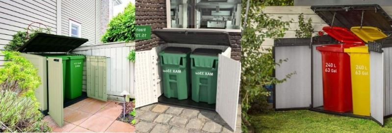 outdoor trash can storage shed