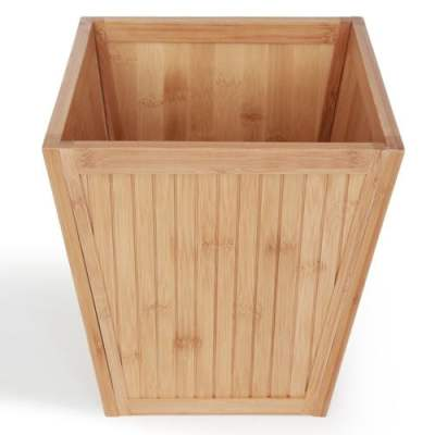 ToiletTree Products 100% Bamboo Wooden Wastebasket Trash Can