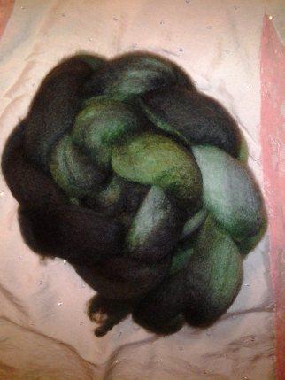"""Green burns to black"" 4 ounces Blue Face Leicester $20.00"