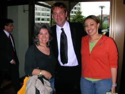 Alexis Gentry and Pat Sue Gentry pose with South Park Co-creator Trey Parker