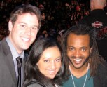 Ben Lyons, Alexis Gentry, and Sal Masekela at the 2009 Sprite Slam Dunk contest