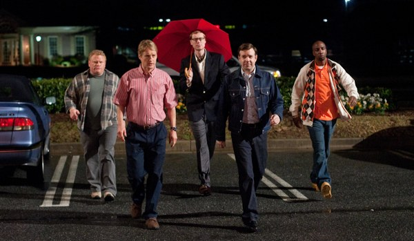 Larry Joe Campbell, Owen Wilson, Jason Sudeikis, Stephen Merchant and J.B. Smoove star in Hall Pass