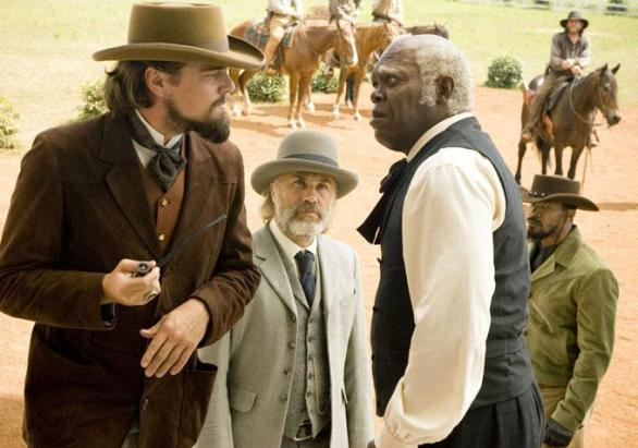 Leonardo DiCaprio, Christoph Waltz, Samuel L. Jackson and Jamie Foxx in DJANGO UNCHAINED
