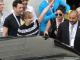 Jennifer Lawrence waving to fans at Comic Con 2013